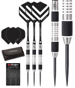 Red Dragon Chevron Tungsten Steel Darts with Flights, Shafts, Wallet & Red Dragon Checkout Card