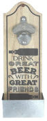 Wall Mounted Rustic Bottle Opener With Bottle Top Catcher - 'Drink Beer With Friends' Design