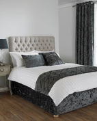 Crushed Velvet Divan Bed Base Wrap Valance in Superking Bed Size Bed Size in Pewter Grey 40cm Deep