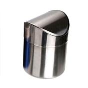 Starworld Stainless Steel Trash Bin, 1.5L Mini Dust Bin Waste Can, Small Desktop Bin with Swing Lid for Kitchen Worktop Office to Save Mess