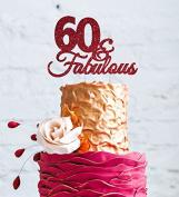 60 & Fabulous - 60th Birthday Cake Topper - Swirly - Glitter Dark Pink