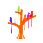 6Pcs Creative Home Kitchen Tableware Dinnerware Sets On The Tree Birds Fruit Forks Orange