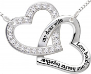 """ALOV Jewellery Sterling Silver """"my dear wife love holds our hearts together"""" Love Heart Cubic Zirconia Necklace"""