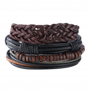 Demiawaking Men's Mixed Bracelets Adjustable Handmade Multi Strand Braided Cowhide Bracelets Rope Wristbands Wooden Beads Bracelet Wrist