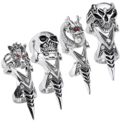 JOVIVI Gothic Punk Men's Full Finger Double Loop Ring Joint Armour Ring,4pcs