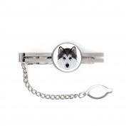 Siberian Husky, tie pin, clip with an image of a dog, elegant, geometric