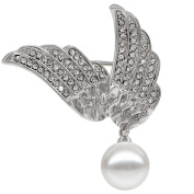 Kemstone Silver Tone Simulated Pearl Crystals Wing Brooch Women Jewellery