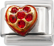 Light red stone heart italian charm fits classic nomination & zoppini charm bracelets