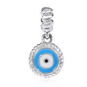 Blue Evil Eye Charm Solid 925 Sterling Silver Lucky Bead Charms for European Bracelet Necklace