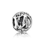 Letter Alphabet Charm 925 Sterling Silver Charms Fits Pandora, European Bracelets Compatible