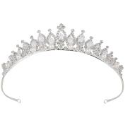 Clearine Women's Crystal Victorian Style Simulated Pearl Bling Wedding Bridal Crown Hair Tiara Silver-Tone