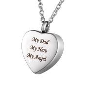 "HOUSWEETY Cremation Jewellery Stainless Steel ""My Dad My Hero My Angel"" Heart Urn Pendant Necklace - Memorial Ash Keepsake"