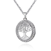 MATERIA Women's Necklace Pendant Tree of Life Sterling Silver with 34 White Cubic Zirconia Celtic + Gift Box #KA-363