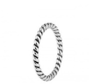 Sterling Silver 2mm Stacking Twisted Rope ring in sizes G-Z