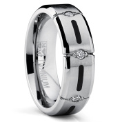 7MM Titanium Ring Wedding Band with Resin Inlay and 3 Stone