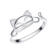 Chaomingzhen 925 Sterling Silver Rhodium Plated Cute Cat Ring for Women Opening Ring Adjustable Size
