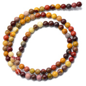 MagiDeal 4mm Nature Mookaite Round Gemstone Loose Spacer Beads for DIY 15inch