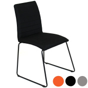 Charles Jacobs Modern Fabric DINING table Chairs x2 with Padded Seat and Stylish Rib Back Material Design Reinforced Metal Legs Perfect for Lounge or Kitchen