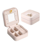 Gluckliy Faux Leather Portable Travel Small Jewellery Box Jewellery Storage Case Organiser with Makeup Mirror for Rings Earrings Necklaces