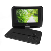 Portable DVD Player with Swivel Screen Built-in Rechargeable Battery 24cm Digital Player for Car Supports SD Card and USB