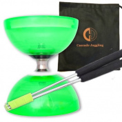 Green Cyclone Quartz II Triple Bearing Diabolo with Aluminium 'Metal' Sticks and Carry Bag - Pro Clutch Diablo Set