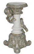 21cm White and Silver Cherub Candle Holder - Left Facing