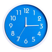 Binwo Modern Colourful Stylish Elegant Silent Non-ticking Home Kitchen/Living Room Wall Clock 25cm (Blue)--2nd Generation