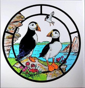Static Window Clings in a Puffins Design.