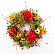 "Artificial Autumn wreath with chrysanthemum, dogwood, berries, orange - red, Ø11.8"" / 30 cm - Autumn decoration / Decorative wreath - artplants"