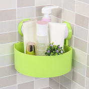 DIKEWANG Bathroom Kitchen Holder Plastic Strong Firmly Sucker, Firmly Adsorbed on Smooth Surfaces Suction Cup Bathroom Kitchen Corner Storage Rack Organiser Shower Soap Shelf