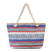 Blue Multi Pattern Striped tote Bag