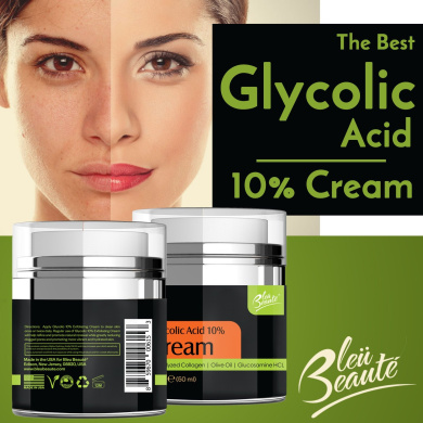 Glycolic Acid 10% Cream with Antioxidants, Hydrated Collagen Olive Oil (*)
