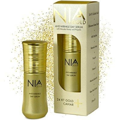 nia gold luxury skin care. anti-wrinkle day serum with pure 24 kt gold, vitamin e, honey and caviar. 30ml
