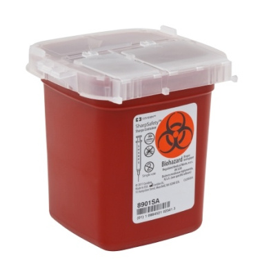 SharpSafety Phlebotomy Sharps Container 11cm X 11cm X 11cm , 1 Pint