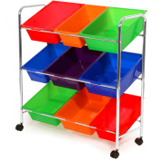 Seville Classics Mobile Toy Storage Organiser, 9-Bins in Fun Colours