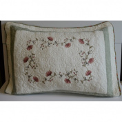 August Grove Fallon Flower Embroidery Quilt-Standard Sham