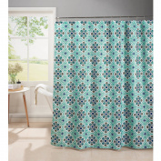 Olive Waffle Weave Textured Shower Curtain with Metal Roller Hooks