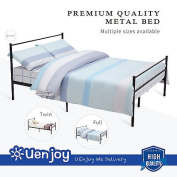 Mecor Metal Bed Frame Platform with Headboards ,Footboard and 6 Legs,Black