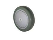 Grey on Grey Caster Wheel 13cm x 2.5cm - 0.6cm Polyurethane Wheel x 1cm w/ Thread Guards