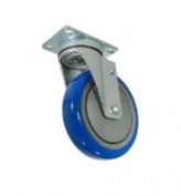 Blue Polyurethane Wheel Swivel Plate Caster with 10cm Diameter x 2.5cm - 0.6cm Wide Wheel