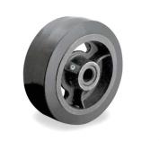 (One) 4 Series Caster 20cm x 5.1cm Black Rubber Wheel 1.3cm ID