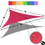 Alion Home Triangle Burgundy Red Waterproof Woven Sun Shade Sail For Patio Pool Deck Porch Garden in Vibrant Colours 3mx 3mx 3m