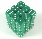 Green Opaque Dice with White Pips D6 12mm (1/2in) Pack of 36 Koplow Games