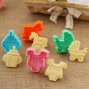 4Pcs/Set Cookies Biscuit Plunger Cutter Fondant Cake Mould Baby Pram Clothes Rocking Horse Milk Bottle Baking Decorating Tools