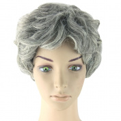 Women's Fashion Short Wavy Curly Grandma Grey Cosplay Wigs Daily Wearing