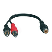 1 RCA Female Socket to 2 Male Phono Plugs Y Splitter 0.2m / 20cm Cable by electrosmart®