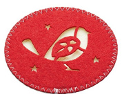 "KitchenCraft Little Red Robin Christmas Felt Drinks Coasters, 10 cm (4"") (Set of 4) - Red"