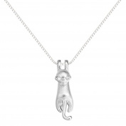 iszie jewellery sterling silver sweet little kitten necklace,cat pendant necklace for girl