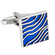 Cool Cufflinks for Men Blue Waves Enamel Design on Stainless Steel