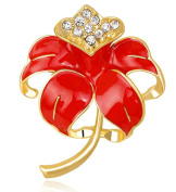 FENGJI Poppy Flower Brooches Red Remembrance Poppies Pin Rhinestone Brooch Badge Gift